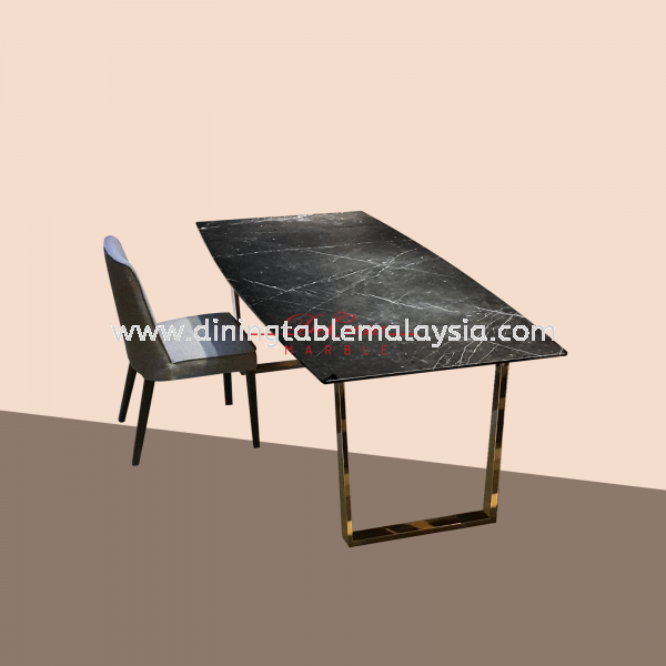 Black Marquina | Spain | 8 seaters | Dining Table only | RM5,999 Rectangular Marble Table Promotion / Clearance Item  Malaysia, KL Manufacturer, Exporter | DeCasa Marble Sdn Bhd