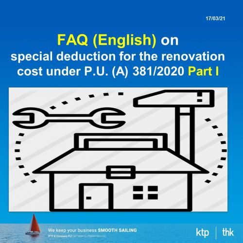 FAQ (English version) on special deduction for the renovation cost under P.U. (A) 381/2020