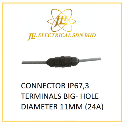 CONNECTOR IP67,3 TERMINALS BIG- HOLE DIAMETER 11MM (24A)