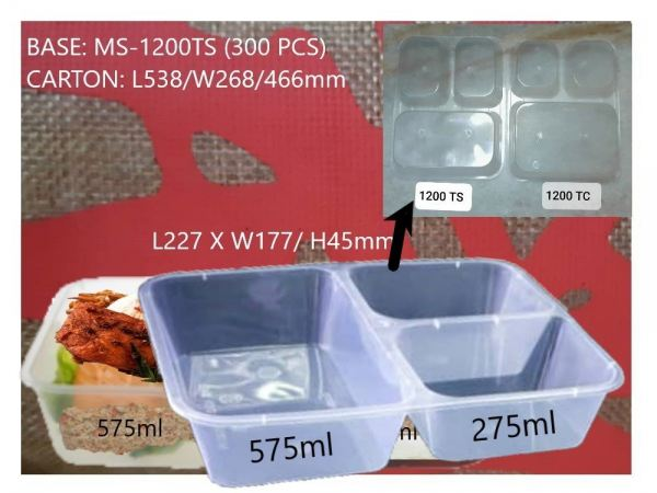 MS-1200TS BASE ONLY RECTANGULAR CONTAINER (300 PCS) COMPARTMENT / YU SANG CONTAINER MICROWAVEABLE PLASTIC CONTAINNER Kuala Lumpur (KL), Malaysia, Selangor, Kepong Supplier, Suppliers, Supply, Supplies | RS Peck Trading