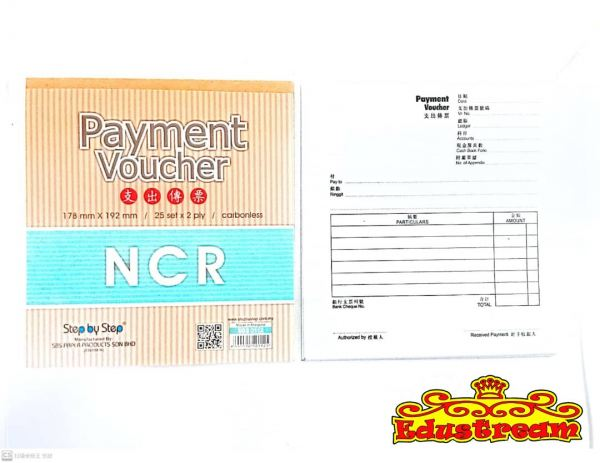 Step by Step NCR Payment Voucher 25 Set x 2 Ply  SBS 0112 Bill Book School & Office Equipment Stationery & Craft Johor Bahru (JB), Malaysia Supplier, Suppliers, Supply, Supplies | Edustream Sdn Bhd