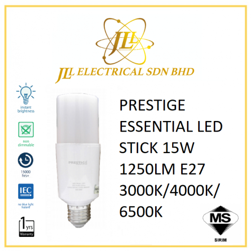 PRESTIGE ESSENTIAL LED STICK 15W 1250LM E27 3000K/4000K/6500K