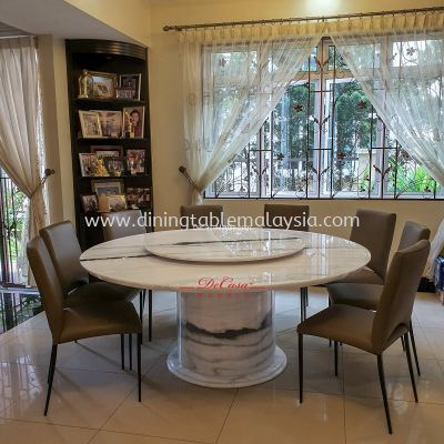 Majestic Round Dining Table | Panda White | 10 Seaters