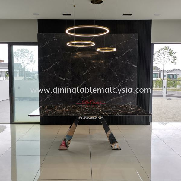 Luxury Black Marble Table | Marrone | 8 Seaters Marble Dining Table Malaysia, KL Manufacturer, Exporter | DeCasa Marble Sdn Bhd