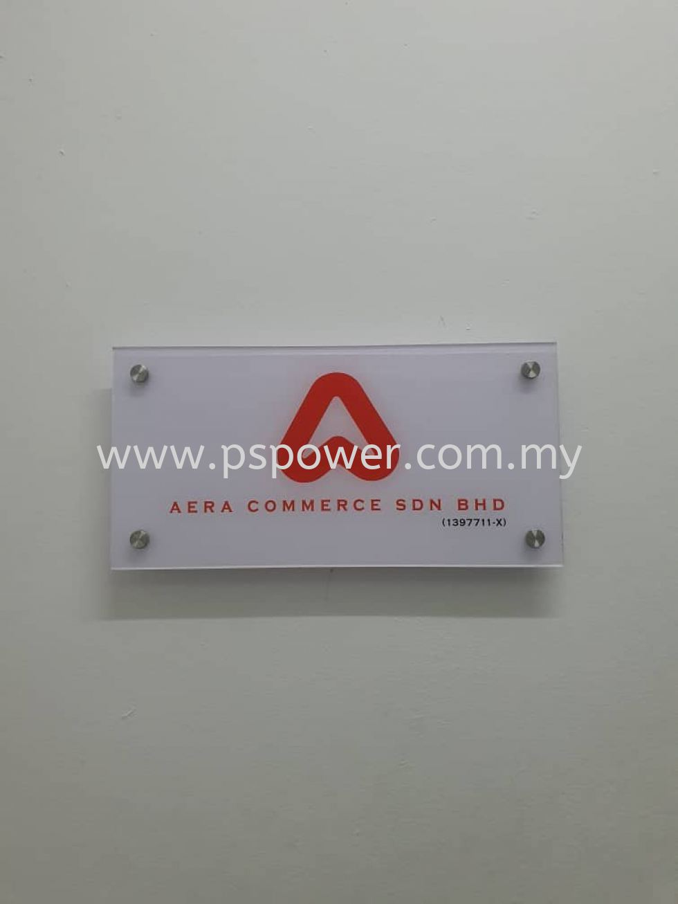 Acrylic Company Signage with Sticker + bolt nuts