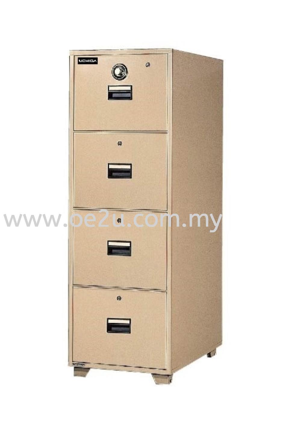 UCHIDA 4 Drawer Fire Resistant Filing Cabinet (B4-4D)_340kg