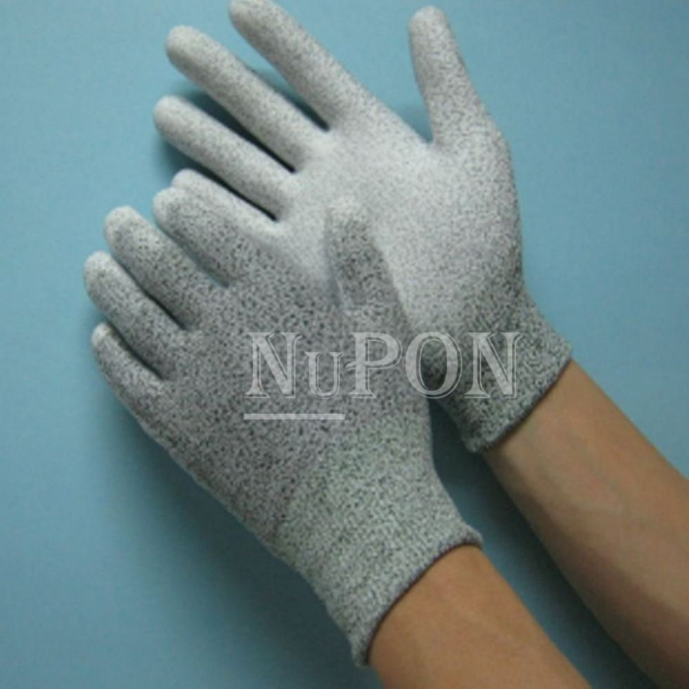 Grey Cut Resistant White Palm Coated Gloves