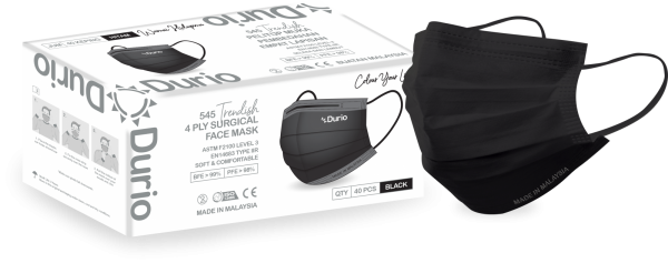 Durio 545 Trendish 4 Ply Surgical Face Mask -Black 545 Trendish 4 Ply Surgical Face Mask Malaysia, Johor Bahru (JB) Manufacturer, Supplier, Supply, Supplies | Durio PPE Sdn Bhd
