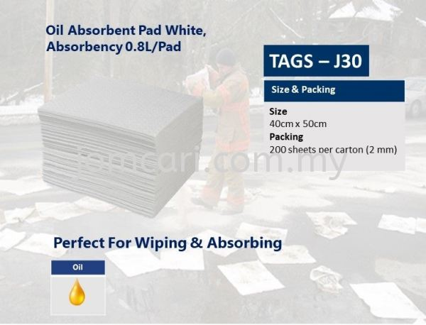 [Loose Pack] TAGS-J30S Oil Absorbent Pad, White, Absorbency 0.8L/pad, size: 40cm x 50cm x 2mm Industrial Wipes, Absorbent Pads & Spill Control  Industrial Selangor, Malaysia, Kuala Lumpur (KL), Penang, Kajang, Ayer Itam Supplier, Suppliers, Supply, Supplies | Hygrow Sdn Bhd