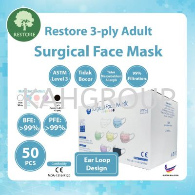 Restore 3 Ply Surgical Face Mask @ BFE 99% PFE 99% @ Ear Loop