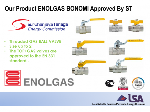 Our Product ENOLGAS BONOMI Gas Ball Valve Now Registered and Approved by Energy Commission (ST)