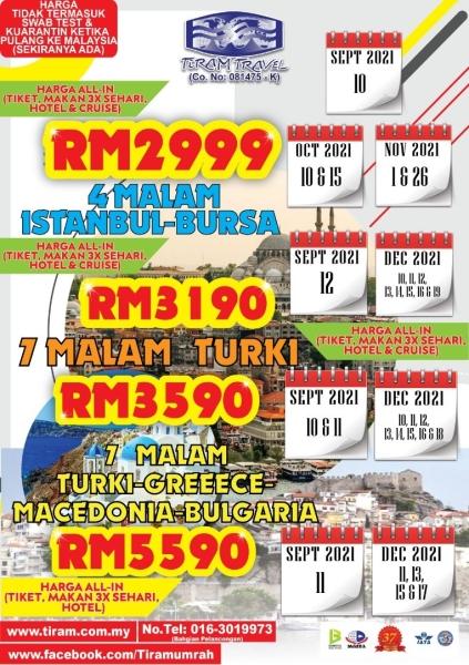 PAKEJ TURKI 2021 Pakej Pelancongan Johor Bahru (JB), Malaysia, Selangor, Kuala Lumpur (KL), Melaka, Negeri Sembilan Packages, Services | Tiram Travel Sdn Bhd