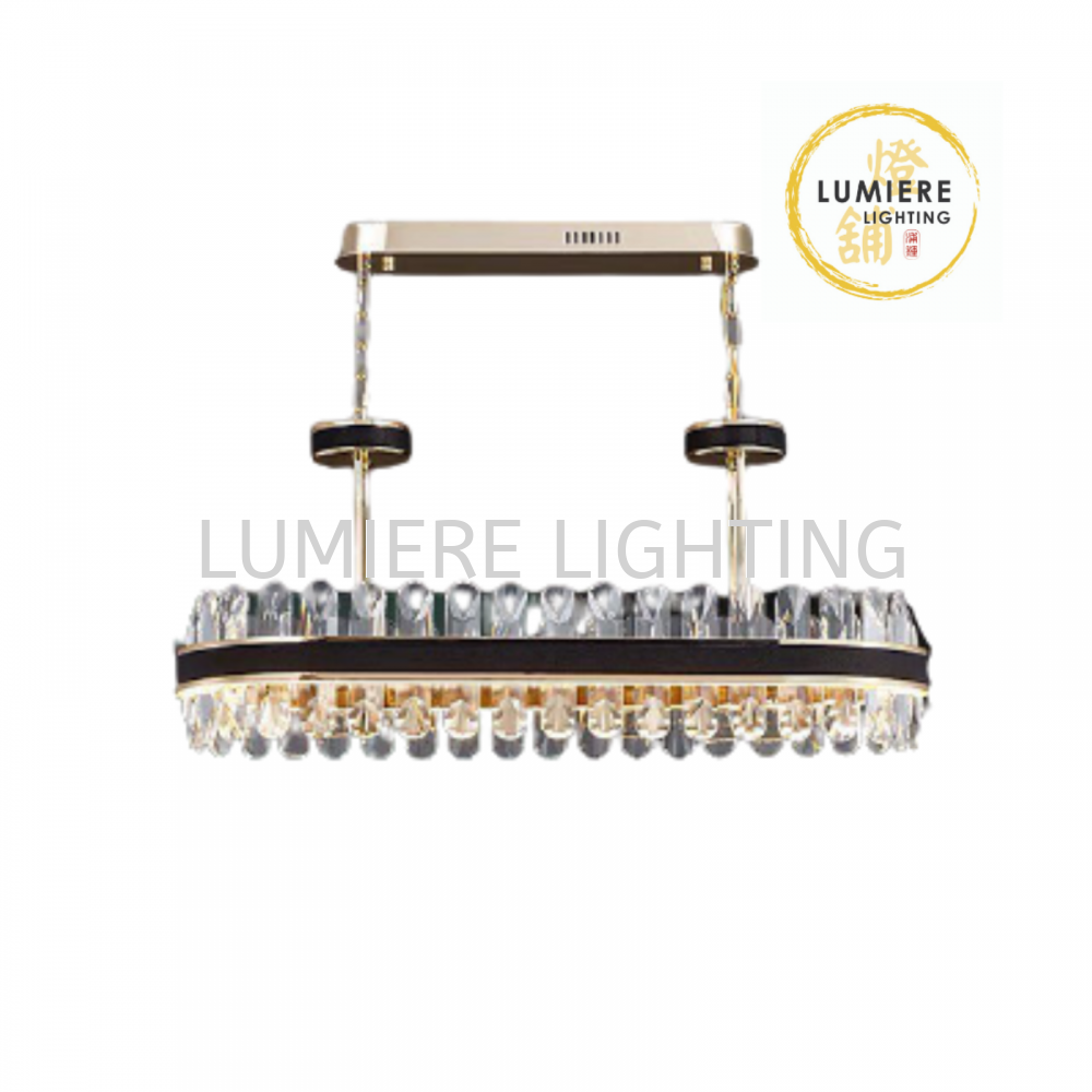 Nordic Post Modern Gold Plated Leather Wrapped Crystal Pendant Light