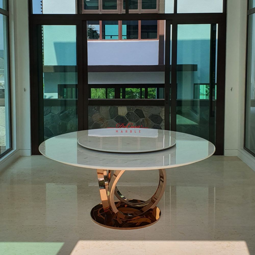 Majestic White Greece Marble Dining Table | Sivec White | 10 Seaters