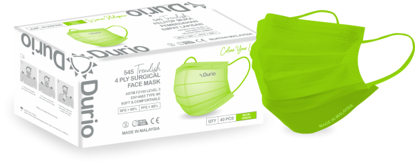 Durio 545 Trendish 4 Ply Surgical Face Mask- Neon Green 545 Trendish 4 Ply Surgical Face Mask Malaysia, Johor Bahru (JB) Manufacturer, Supplier, Supply, Supplies   Durio PPE Sdn Bhd