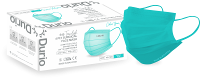 Durio 545 Trendish 4 Ply Surgical Face Mask- Tiffany Blue