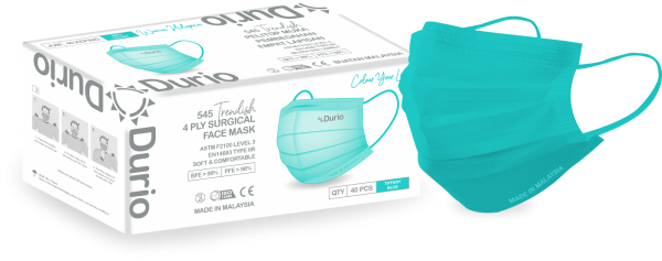 Durio 545 Trendish 4 Ply Surgical Face Mask- Tiffany Blue 545 Trendish 4 Ply Surgical Face Mask Malaysia, Johor Bahru (JB) Manufacturer, Supplier, Supply, Supplies   Durio PPE Sdn Bhd