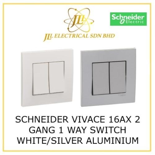 SCHNEIDER VIVACE 16AX 2 GANG 1 WAY SWITCH WHITE/SILVER ALUMINIUM KB32_1_WE_G11/ KB32_1_AS_G11