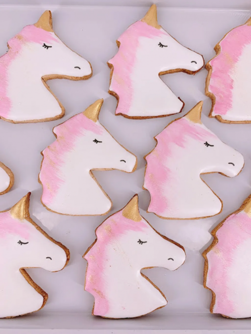 Pink Shimmer Unicorn Royal Icing Cookie