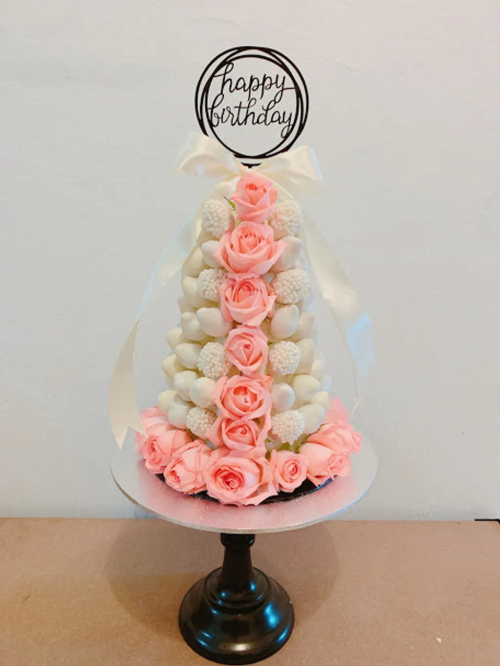 White and Pink Strawberry Tower