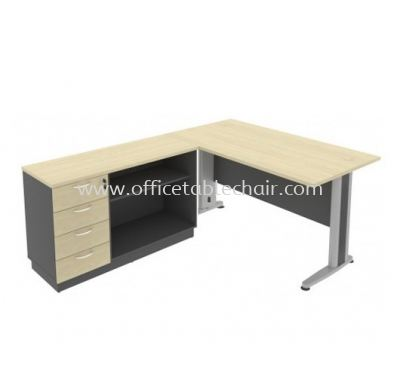 TITUS 5' EXECUTIVE RECTANGUALR WRITING OFFICE TABLE METAL J-LEG WITH OPEN SHELF OFFICE CABINET+ FIXED PEDESTAL 4D