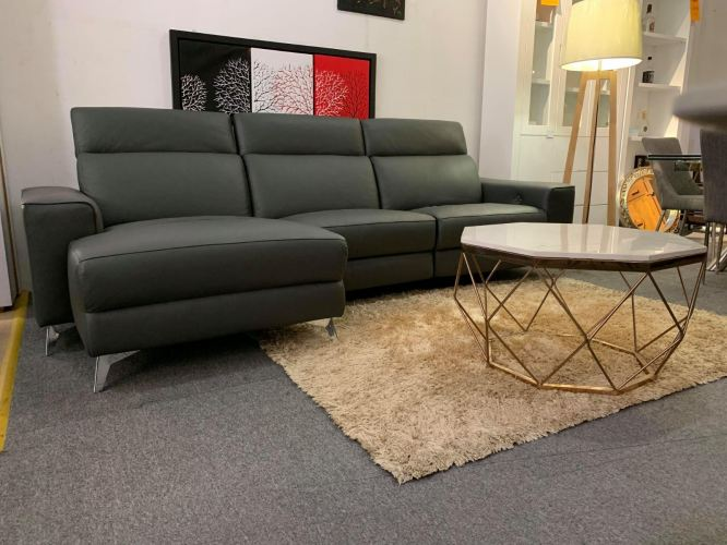 L- shape Genuine Leather with one  incliner sofa