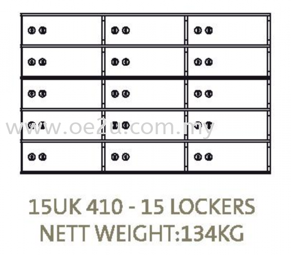 Chubbsafes Safe Deposit Locker - 15 Lockers (15 UK 410)_134kg