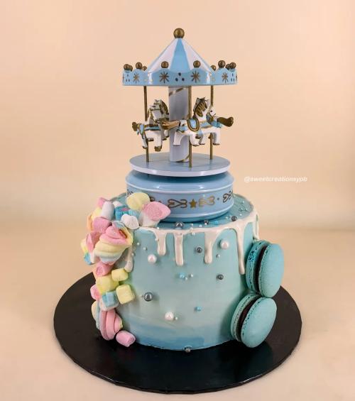 Blue Carousel Theme - Buttercream Cake