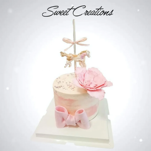 Pink Carousel with Peony Buttercream Cake