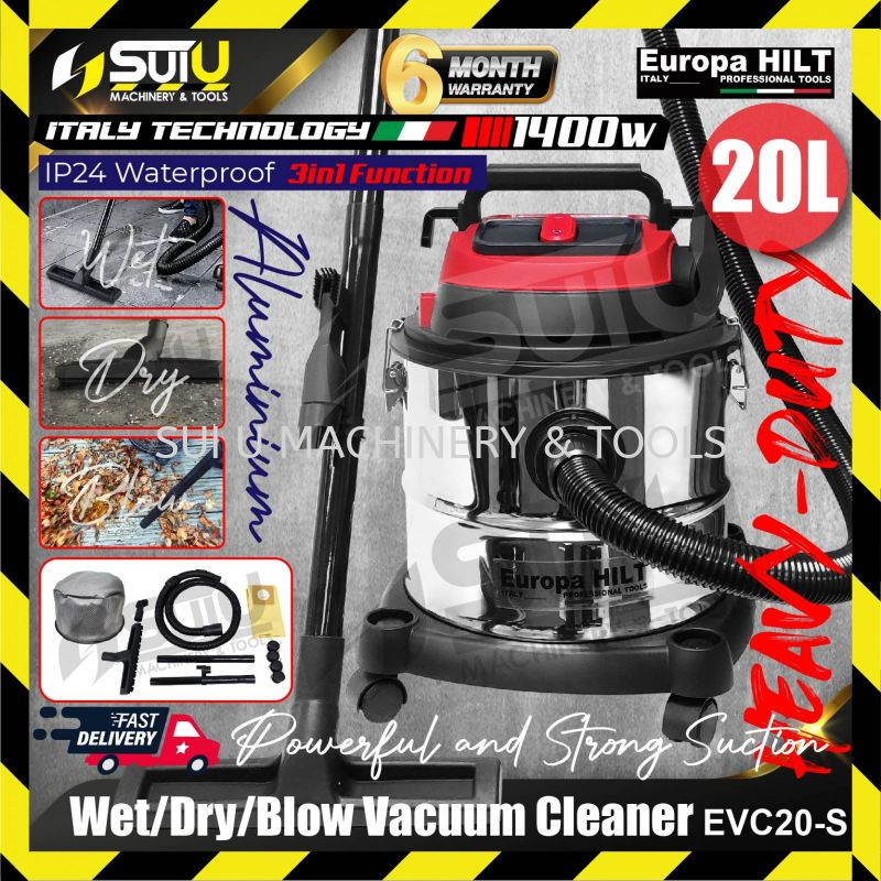 Europa Hilt EVC20-S Vacuum Cleaner IP24 Powerful Heavy Duty 3in1 Function Dry / Wet / Blow 20 Litre 1400w