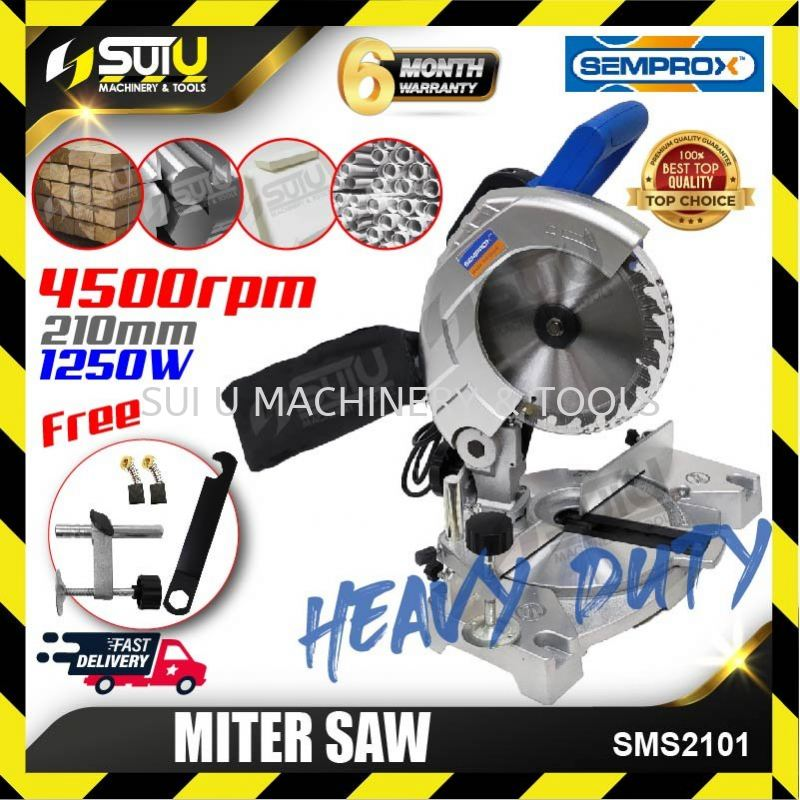 """SSEMPROX SMS2101 8"""" Mitre Saw Light Weight with Dust Bag for Wood & Aluminium 1250W"""