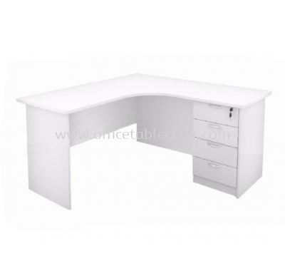 5' L-SHAPE OFFICE TABLE WITH FIXED PEDESTAL 4D (WHITE)