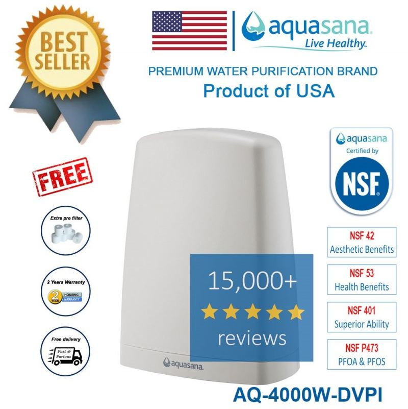 AQUASANA AQ-4000W-DVPI (Latest Model) Water Filter Water Purifier - 4 NSF Certified (2 Years Housing Warranty)
