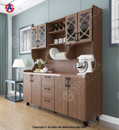 Walnut Rose Gold Stainless Steel-Top High Kitchen Cabinet (6'ft) - SAKC5802