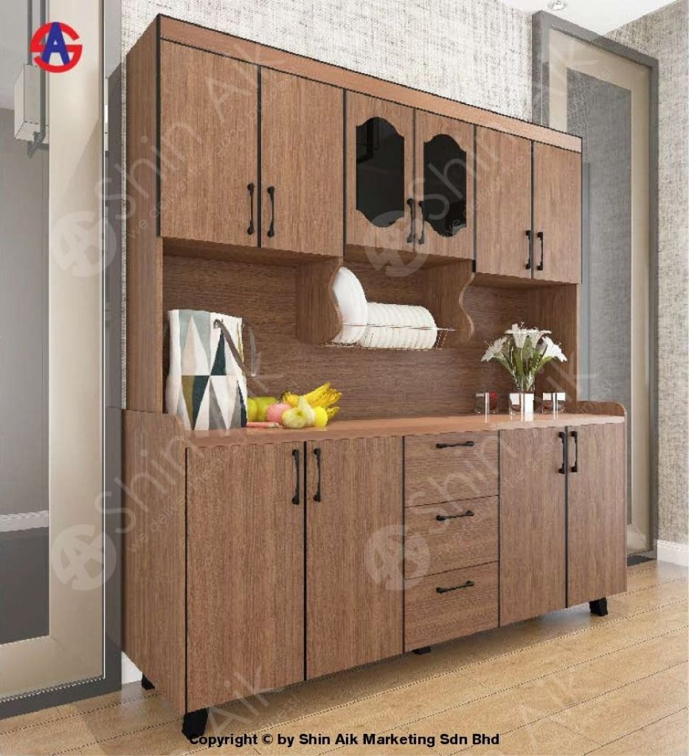 Walnut Rose Gold Stainless Steel-Top High Kitchen Cabinet (6'ft) - SAKC5800