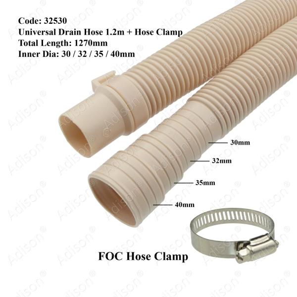 Code: 32530 Univeral Drain Hose 1.2m + Hose Clamp Inlet Hose / Drain Hose Washing Machine Parts Melaka, Malaysia Supplier, Wholesaler, Supply, Supplies | Adison Component Sdn Bhd