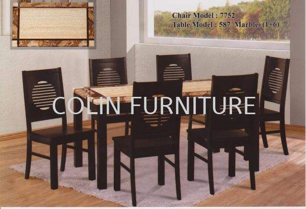 DT587 Mable table with Solid leg+Solid chair 1TABLE + 6CHAIRS DINING SET MARBLE DINING ROOM Kedah, Malaysia, Kulim Supplier, Suppliers, Supply, Supplies | Colin Furniture Trading