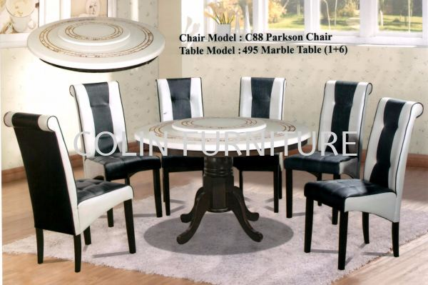 Round Mable table DT495 with Solid leg+Parkson chair 1TABLE + 6CHAIRS DINING SET MARBLE DINING ROOM Kedah, Malaysia, Kulim Supplier, Suppliers, Supply, Supplies | Colin Furniture Trading