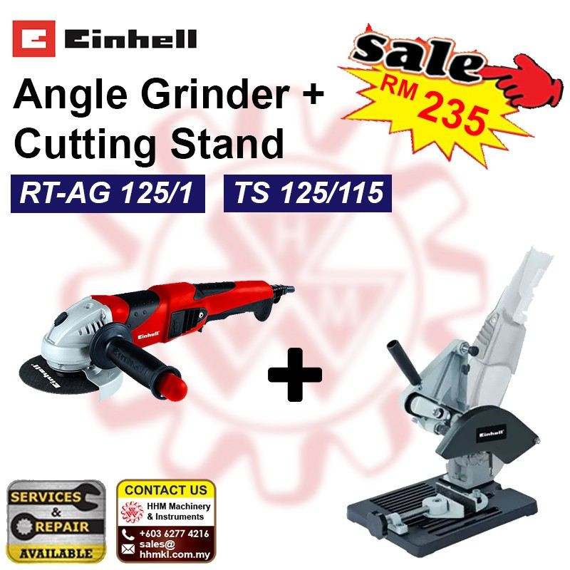 EINHELL Angle Grinder RT-AG 125/1 + Cutting Stand TS 125/115