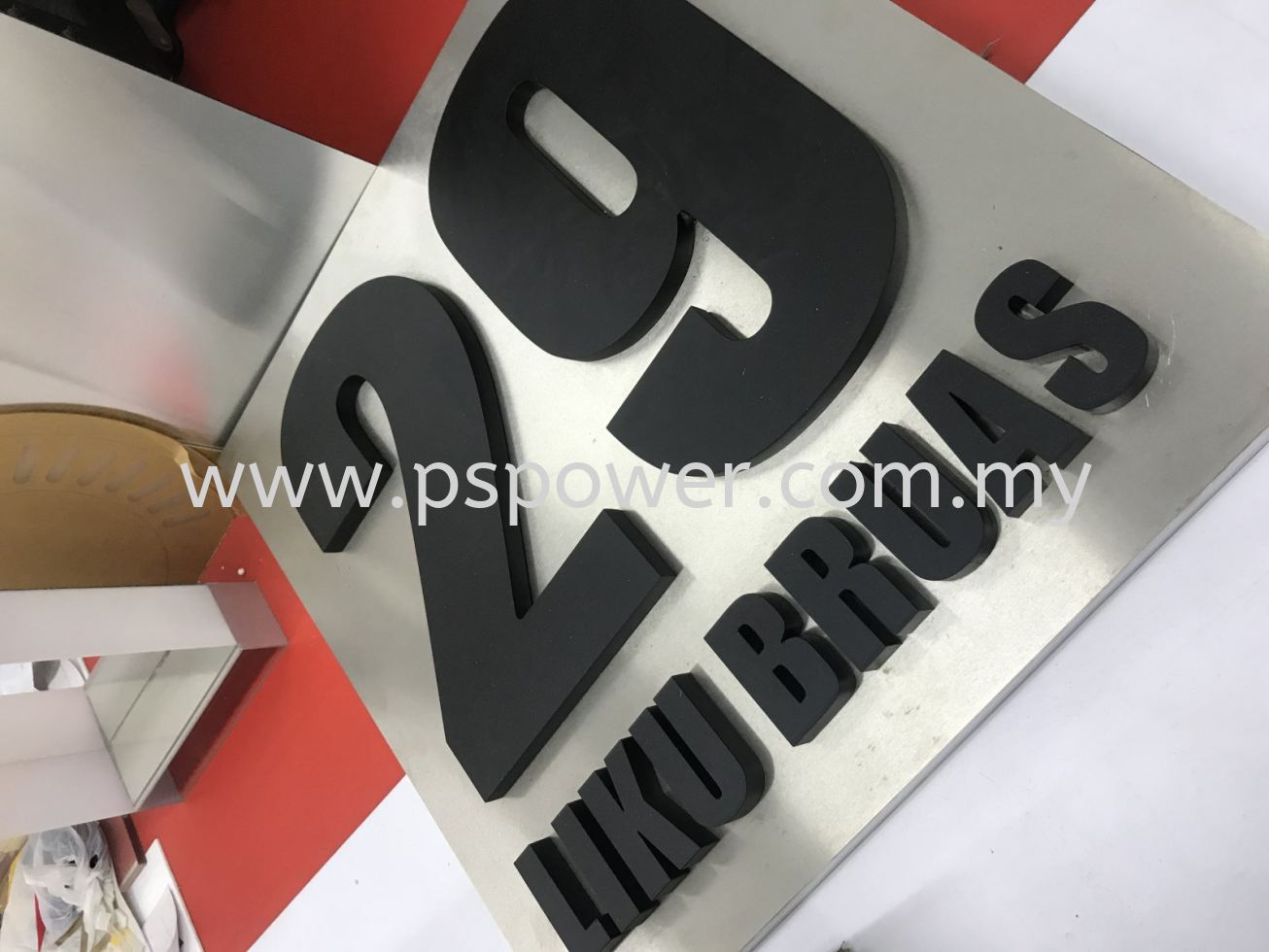 3D Acrylic Signage with Metal box up Base