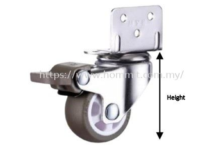 L-Bracket Wheel Castor with Brake Furniture Rollers & Castors Selangor, Malaysia, Kuala Lumpur (KL), Klang Supplier, Suppliers, Supply, Supplies | HOMMIT HARDWARE TRADING SDN. BHD.