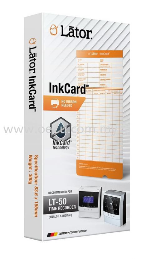 LATOR Punch Card InkCard - 50pcs/packet (Compatible with LATOR LT-50 Time Recorder)
