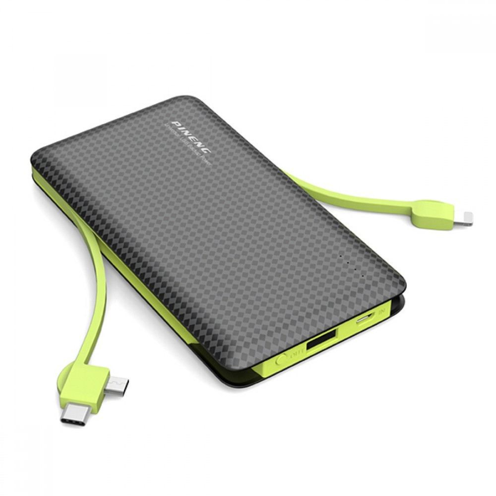 Pineng PN-956 10000mAh built-in 3 Outputs Cable Li-ion Polymer Battery Power Bank