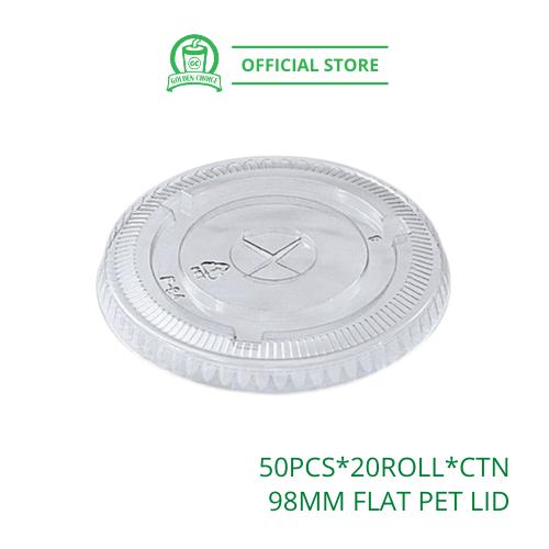 98mm FLAT PET LID - for 16oz PET Cup | Quality | Solid | Takeaway | Cap