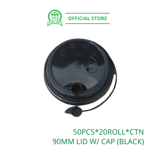 90mm LID WITH CAP Black 塑料连体杯盖 - Disposable | Polypropylene | PP cup | U Shape Cup | Fruit Cup | Takeaway