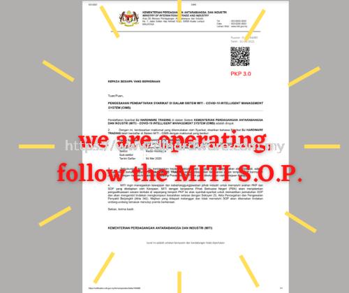 WE ARE OPERATING, FOLLOW THE MITI SOP