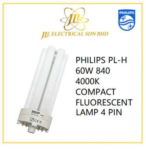 PHILIPS PL-H 60W 840 4000K COMPACT FLUORESCENT LAMP 4 PIN