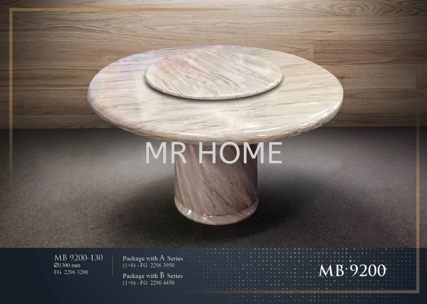1.5M ROUND 8 SEATER MARBLE TABLE