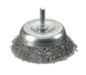 Crimped Stainless Steel Wire Cup Brushes - Shaft Mounted