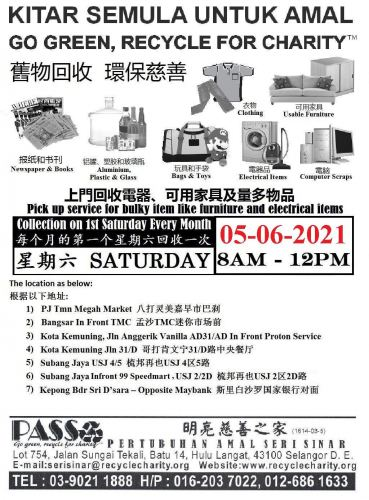 Mobile Collection on 05/06/2021 Saturday at 8am-12pm